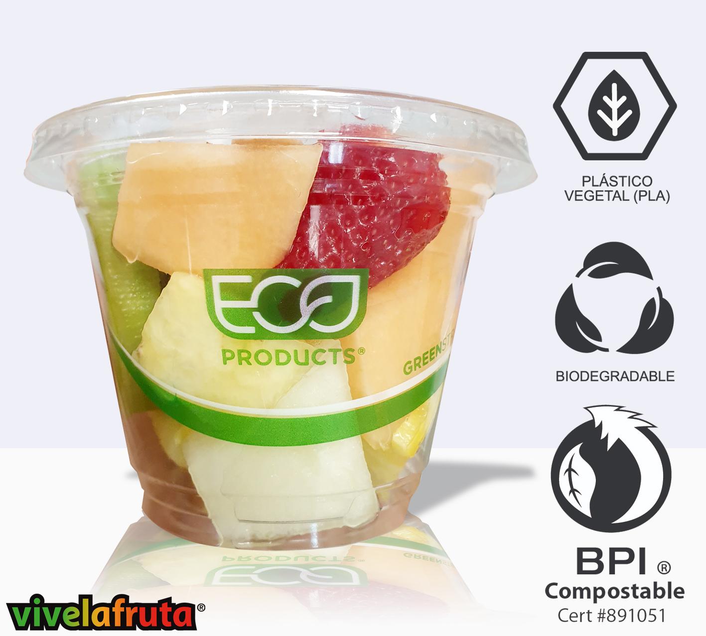 Vasito de plastico vegetal con fruta fresca variada