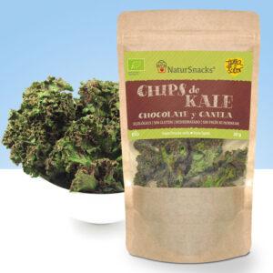 chips de kale deshidratada con chocolate y canela