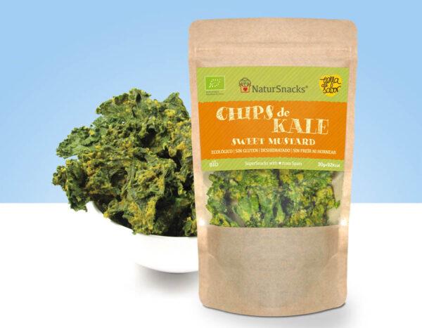 chips de kale deshidratada con sweet mustard